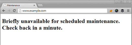 screen from briefly unavailable for maintenance message
