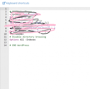 scribbled over .htaccess file