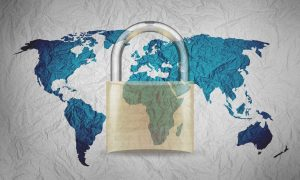 SSL cert lock superimposed over map of the world