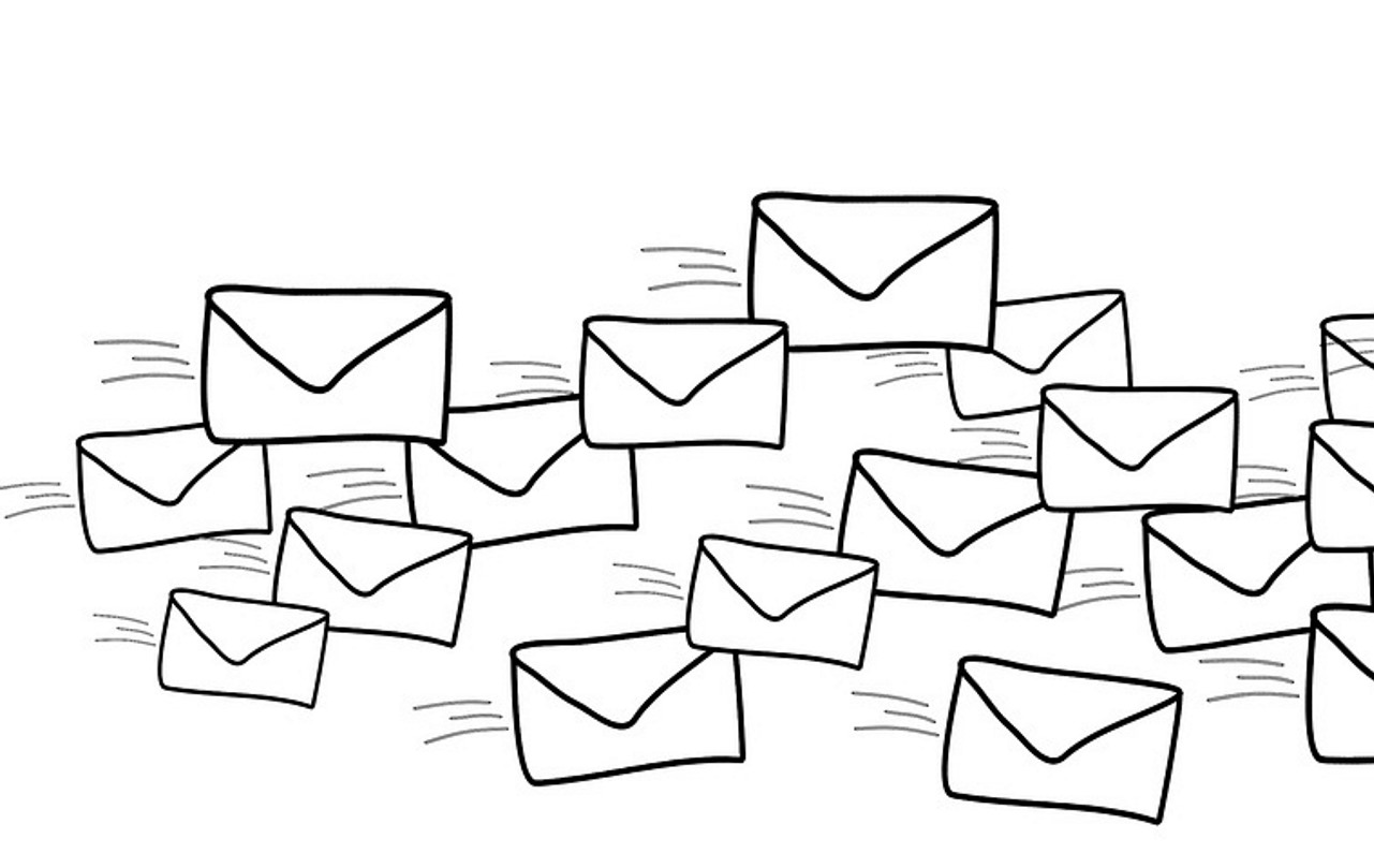 illustration of flurry of emails and envelopes flying through the air